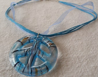 Necklace Choker Lampwork Glass Peace Sign in BLUE and SILVER on Turquoise Ribbon (G2P800)