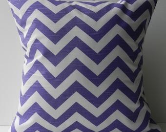 New 18x18 inch Designer Handmade Pillow Case in purple chevron pattern.