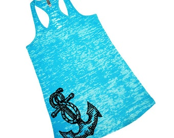 Cute Vintage Anchor Burnout Racerback Tank Top For Women Nautical Boating Beach Pink Blue Green