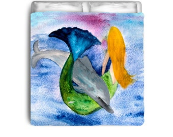 Playful Dolphin and  Mermaid Comforters from my art