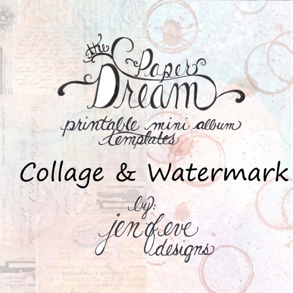 The Paper Dream Printable Mini Album Templates in Collage, Watermark, and Plain