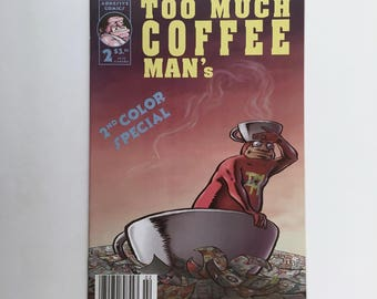 Too Much Coffee Man Comic Book, Vintage, Number 2, Too Much Espresso Guy, First Printing, Underground Comic, Austin, Texas, Mint