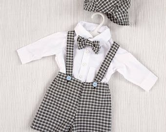 Baby Boy Suit, Christening Outfit, Baby Wedding Outfit, Baby Formal Shorts, 0-3 months, Boys Baptism,  Newsboy Cap, Boys Formal Suit