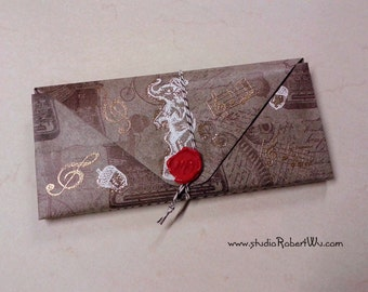 BookLover's Paper Wallet - Elephant Vintage Nostalgia Theme- 14 pockets Folder Organizer