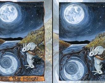 Moon Decor, White Rabbit Print, Large Wall Art, Starry Night, Bunny Rabbit, Animism Tarot Card
