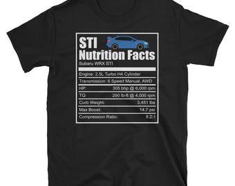 Subaru Wrx STI Nutrition Facts Shirt - New STI Shirt, Subaru Shirt, STI Shirt, Wrx Shirt, Rally Car Shirt, Subaru Gift, Suby Subie Rally Tee