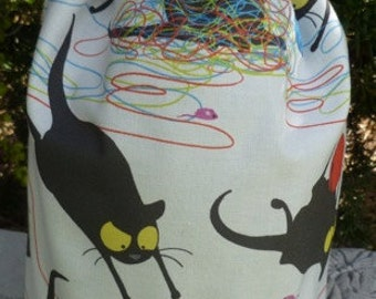 Black cat knitting project bag,  drawstring bag, WIP bag, happy kitty, Suebee