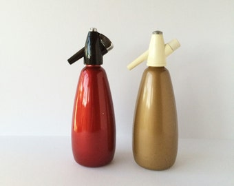 Vintage BOC Soda Siphon Seltzer Bottle 1 Liter Barware Made in Austria, Choice of Red or Bronze Color, Buy One Or Both