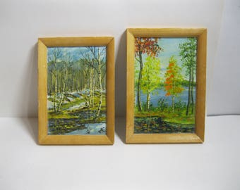 Vintage Miniature Oil Painting Set of 2 / Landscape Small Painting / Nature Art
