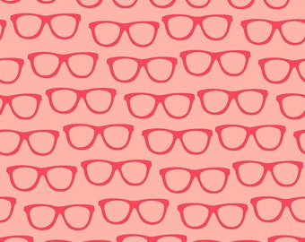 GOOD NIGHT FOREST by Quilters Pallette, Glasses on Coral,   yard