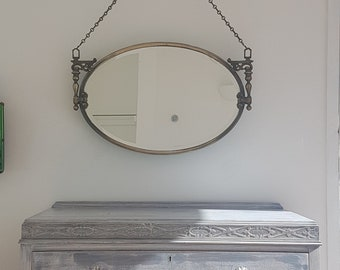Large Antique Metal Framed Mirror With Ornate Candle Holders On Sides