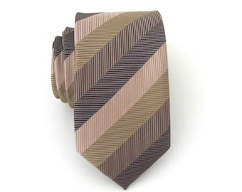 Mens Tie Brown Beige Olive Green Stripes Skinny Tie