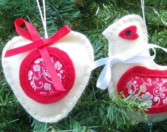 Birds, Felt Bird Christmas Ornaments Bird Ornaments Bird Gifts Bird Gift for Mother Christmas Decorations Christmas Gifts
