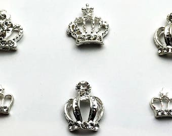 6 PC Silver Tone Crown Assortment Misc  Alloy DIY Jewelry Making Supplies Rhinestone ST2518