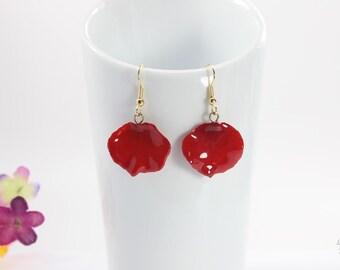 SALE Rose Petal Earrings, Red Earrings, Real Rose Petal Earrings, Red Rose, Real Rose Petal Jewelry SALE257