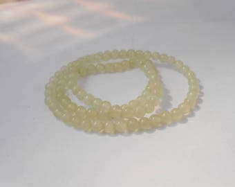 Set of 5 beads 4 mm Green Serpentine Jade. (serp4mm)