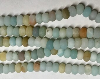 Amazonite Matte Smooth Gemstone Rondelle Beads 4x6mm Approx 46 beads 8 Inch strand
