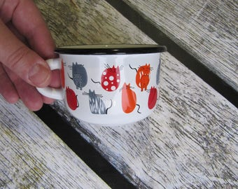 Small Enamel Mug Cats Lovers Camping Mug Enamel Cup 250ml kids enamel mugs