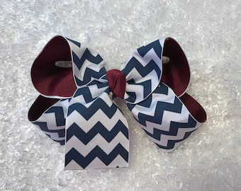 Large Cranberry with Navy Chevron