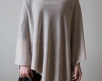 Women Poncho wool sweaters Pure New Wool Cape women's Coat Bordeaux Wool Poncho Feminine beige light brown exclusive hippie style