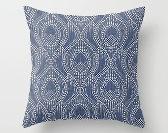 Navy Pillow Cover Scroll Pillow Throw Pillow Decorative Pillow Size Choice