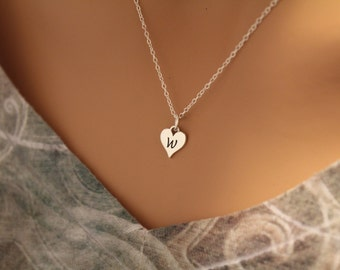 Sterling Silver W Letter Heart Necklace, Silver Tiny Stamped W Initial Heart Necklace, Stamped W Letter Charm Necklace, W Initial Necklace