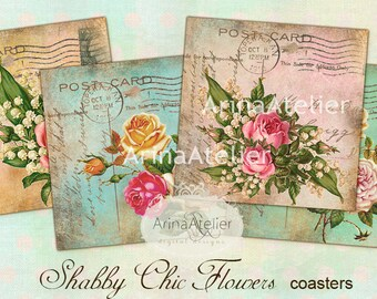 Shabby Chic Flowers  - coaster - 4 x 4 inch - set of 4 cards - Digital Download Sheet - Digital tags - Digital printable - Collage sheet
