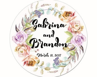 Custom Wedding Labels Personalized Pastel Floral Wreath Watercolor Flowers and Berries Round Glossy Designer Stickers - Quantity 100