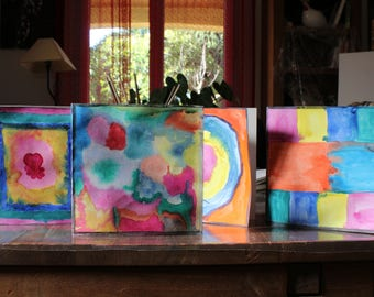 Watercolor modern (set of 4) cards