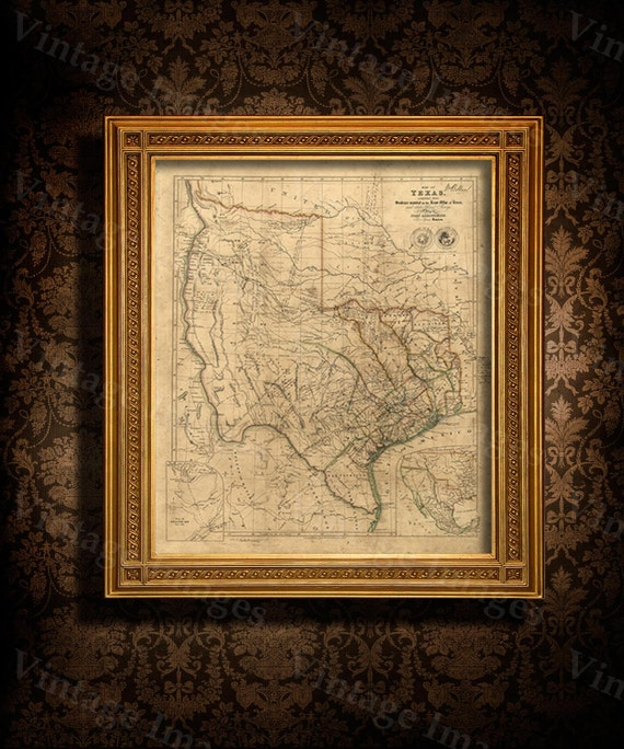 Old Texas Map Vintage Map of Texas 1841 Antique Texas map Restoration decor Style Map Texas state Map Texas Map texas art housewarming gift