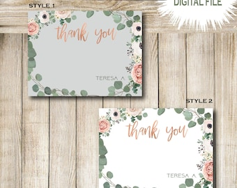 Thank you Notes- Floral invitations - Stationery- Cards
