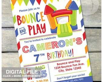 """Bounce House Birthday Invitation BLUE Bounce and Play Inflatable Jump Party - Boy or Girl - DIGITAL Printable 5"""" x 7"""" Invite"""