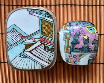 Vintage Chinese Porcelain Shard Boxes 2 Jewelry-Trinket Boxes