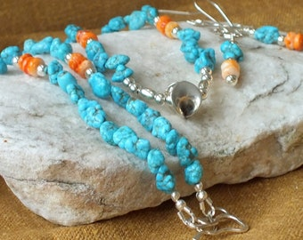 Turquoise Necklace. Turquoise Earrings. Spiny Oyster Shell. Sterling Silver. Jewelry Set.