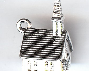 WEDDING CHAPEL Charm. Sterling Silver Plated. 3D. Steeple. Made in the USA. wui