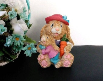 """Vintage Mother Easter Bunny with Baby, Easter Rabbit figurine, Bunny home decor, 1990s, K's Collectibles, 4"""" tall"""