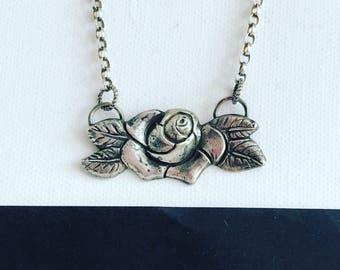 Oxidised Rose bib necklace