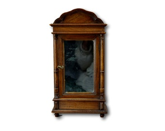 Merveilleux French Large Antique Handmade Wooden Doll Furniture Wardrobe Armoire  Cabinet, French Antiques Miniature Toy,