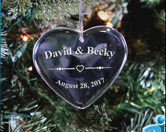 Personalized Christmas Tree Engraved Ornament. Perfect First Christmas Ornament for a Housewarming Gift, Wedding Gift, or Anniversary Gift.