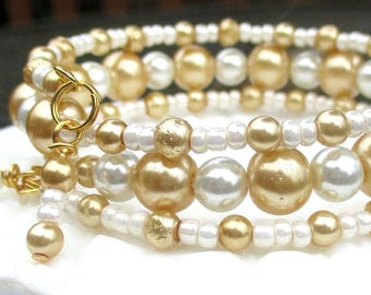 Multistrand Bracelet, Gold Pearl Jewelry, Memory Wire Bracelet, Elegant Jewelry, Anniversary Gift, Wedding Bracelet, One Size Fits Most