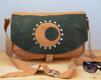 Leather handbag,leather bag,leather messenger,hipster bag,brown leather bag,leather tote,rivets purse,leather purse green,unisex crossbody