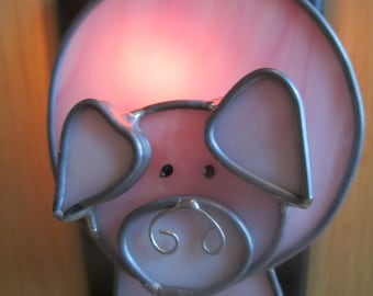 THE BARNYARD OINKER, Stained Glass Pig Night Light