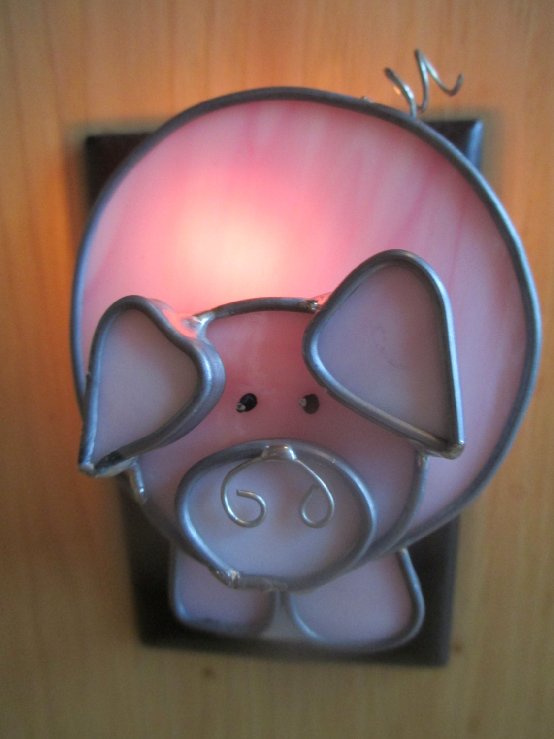 The Barnyard Oinker Stained Glass Pig Night Light