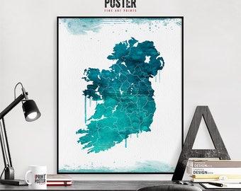 Ireland wall art print, Ireland map poster, travel poster, travel gift, home decor, watercolour, iPrintPoster