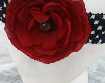 Red and Black Flower Headband
