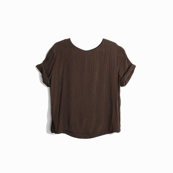 Vintage 90s Crepe Blouse in Black & Bronze Stripe / Short Sleeve Top / Boxy Top - women's medium