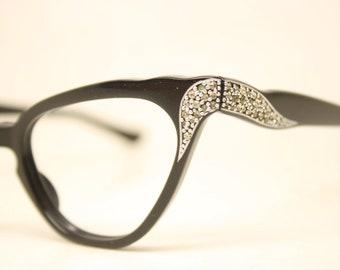 NOS Vintage Black Rhinestone Cat Eye Glasses Cateye Eyeglasses Unused
