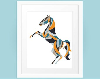 Horse Wall Art, Printable Gift for Horse Lover in Orange and Blues, Geometric Print, Wall Art Print, INSTANT DOWNLOAD