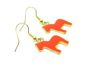 Tangerine Horses Gold Dangle Earrings