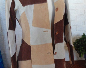 Patchwork leather suede coat quilted jacket small